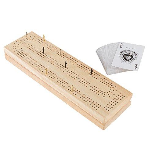 ボードゲーム 英語 アメリカ 海外ゲーム Wood Cribbage Board Game Set- Complete Set With Playing Cards, Pegs, Wood Board and Storage Area for Adults and Kids, Boys and Girls by Hey! Play!ボードゲーム 英語 アメリカ 海外ゲーム