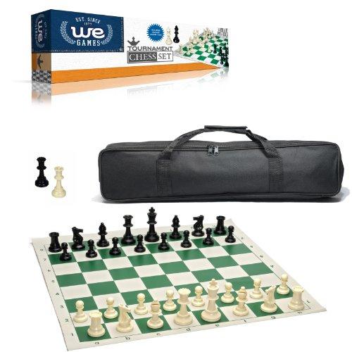 ボードゲーム 英語 アメリカ 海外ゲーム 【送料無料】WE Games Complete Tournament Chess Set ? Plastic Chess Pieces with Green Roll-up Chess Board and Travel Canvas Bagボードゲーム 英語 アメリカ 海外ゲーム