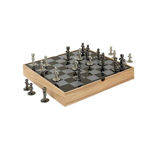 ボードゲーム 英語 アメリカ 海外ゲーム 【送料無料】Umbra Buddy Chess Set For Kids & Adults ? Modern Original Chessboard Game Made of Metal With Nickel & Titanium Finish ? Measures 13 x 13 by 1 ? Inch (3ボードゲーム 英語 アメリカ 海外ゲーム