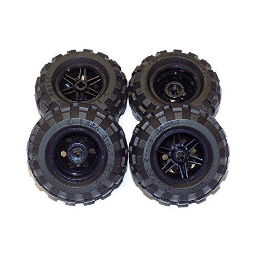 レゴ テクニックシリーズ LEGO Parts and Pieces: Large Black Tire and Black Wheel Pack - 8 Piecesレゴ テクニックシリーズ