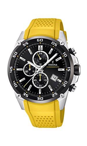 フェスティナ フェスティーナ スイス 腕時計 メンズ 【送料無料】Festina 'The Originals Collection' Men's Quartz Watch with Black Dial Chronograph Display and Yellow Rubber Strap F20330/3フェスティナ フェスティーナ スイス 腕時計 メンズ