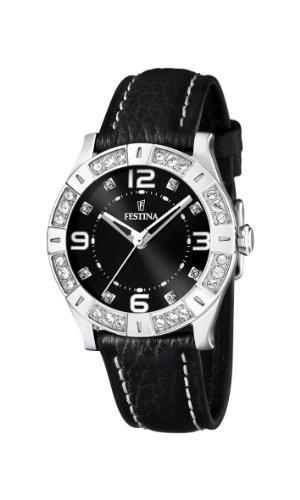 フェスティナ フェスティーナ スイス 腕時計 レディース 【送料無料】Festina Ladies Watch F16537/2 with Black Leather Strap and Czフェスティナ フェスティーナ スイス 腕時計 レディース