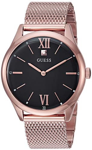 ゲス GUESS 腕時計 メンズ 【送料無料】GUESS Rose Gold-Tone Stainless Steel Mesh Bracelet Watch with Black Genuine Diamond Dial. Color: Rose Gold-Tone (Model: U1214G2)ゲス GUESS 腕時計 メンズ