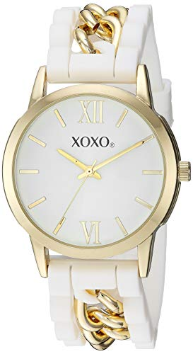 クスクス キスキス 腕時計 レディース XOXO Women's Analog-Quartz Watch with Silicone, Stainless Steel Strap, White, 20 (Model: XO8100)クスクス キスキス 腕時計 レディース