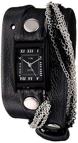 ラメールコレクションズ 腕時計 レディース LMMULTICW1019 La Mer Collections Women's LMMULTICW1019-GNM Watch with Black Leather Wrap-Around Bandラメールコレクションズ 腕時計 レディース LMMULTICW1019