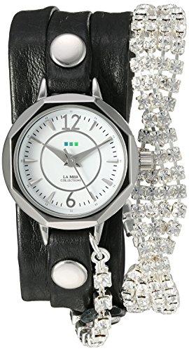 ラメールコレクションズ 腕時計 レディース LMDELCRY1504 La Mer Collections Women's Quartz Silver-Tone and Leather Watch, Color:Black (Model: LMDELCRY1504)ラメールコレクションズ 腕時計 レディース LMDELCRY1504