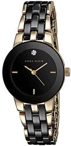アンクライン 腕時計 レディース AK/1610BKGB 【送料無料】Anne Klein Women's AK/1610BKGB Diamond Dial Gold-Tone and Black Ceramic Bracelet Watchアンクライン 腕時計 レディース AK/1610BKGB