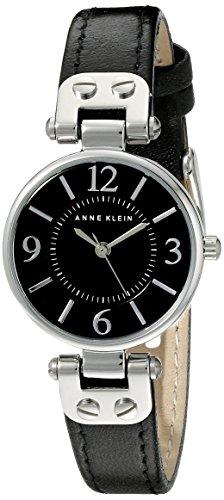 アンクライン 腕時計 レディース 10/9443BKBK 【送料無料】Anne Klein Women's 109443BKBK Silver-Tone Black Dial and Black Leather Strap Watchアンクライン 腕時計 レディース 10/9443BKBK