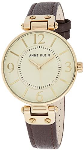 アンクライン 腕時計 レディース 10/9168IVBN 【送料無料】Anne Klein Women's 109168IVBN Gold-Tone and Brown Leather Strap Watchアンクライン 腕時計 レディース 10/9168IVBN