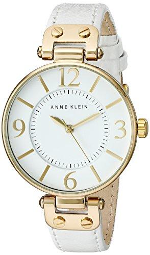 アンクライン 腕時計 レディース 10/9168WTWT 【送料無料】Anne Klein Women's 109168WTWT Gold-Tone and White Leather Strap Watchアンクライン 腕時計 レディース 10/9168WTWT