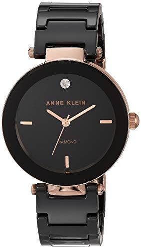 アンクライン 腕時計 レディース AK/1018RGBK 【送料無料】Anne Klein Women's AK/1018RGBK Diamond Dial Rose Gold-Tone Black Ceramic Bracelet Watchアンクライン 腕時計 レディース AK/1018RGBK