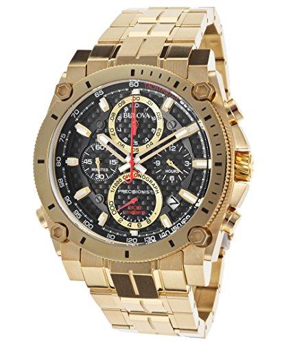 腕時計 ブローバ メンズ 【送料無料】Bulova 97B138 Men's Precisionist Chrono Gold-Tone Ss Black Carbon Fiber Dial Watch腕時計 ブローバ メンズ