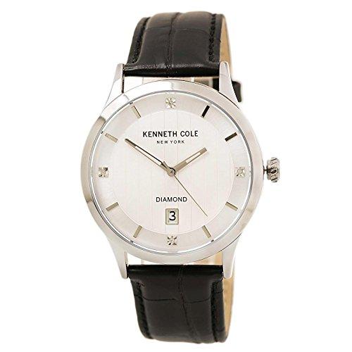 ケネスコール・ニューヨーク Kenneth Cole New York 腕時計 メンズ Kenneth Cole 10030661 Men's Diamond Silver Dial Black Croco Leather Strap Watchケネスコール・ニューヨーク Kenneth Cole New York 腕時計 メンズ