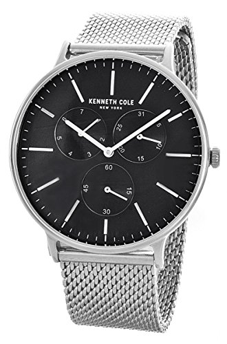 ケネスコール・ニューヨーク Kenneth Cole New York 腕時計 メンズ Kenneth Cole New York Black Dial Stainless Steel Mesh Bracelet Watch 10031471ケネスコール・ニューヨーク Kenneth Cole New York 腕時計 メンズ