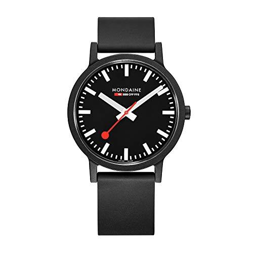 モンディーン 北欧 スイス 腕時計 メンズ 【送料無料】Mondaine Men's SBB Stainless Steel Essence Swiss Quartz Watch with Rubber Strap, Black (Model: MS1.41120.RB)モンディーン 北欧 スイス 腕時計 メンズ