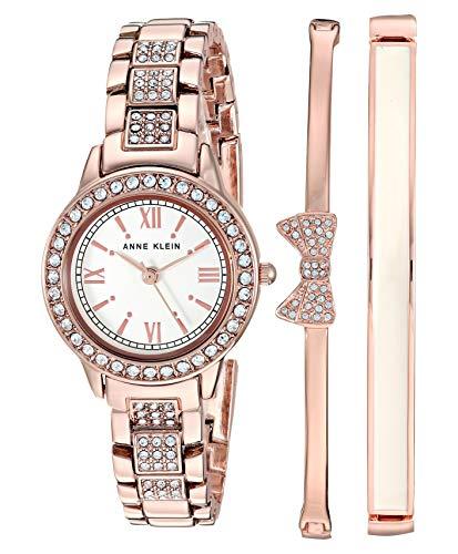 アンクライン 腕時計 レディース 【送料無料】Anne Klein Women's Swarovski Crystal Accented Rose Gold-Tone Bracelet Watch and Bangle Set, AK/3334BHSTアンクライン 腕時計 レディース