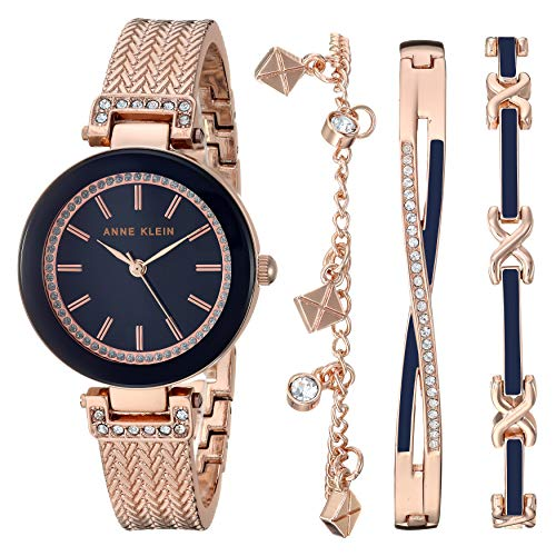 腕時計 アンクライン レディース 【送料無料】Anne Klein Women's Swarovski Crystal Accented Rose Gold-Tone Bangle Watch with Bracelet Set, AK/3394NRST腕時計 アンクライン レディース