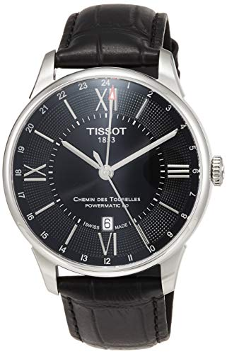 ティソ 腕時計 メンズ 【送料無料】Tissot Chemin Des Tourelles GMT Automatic Mens Black Leather Watch T0994291605800ティソ 腕時計 メンズ