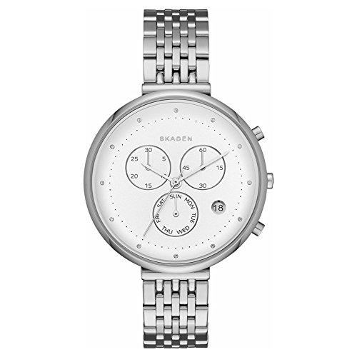 スカーゲン 腕時計 レディース 【送料無料】Skagen SKW2419 Ladies Gitte Silver Steel Chronograph Watchスカーゲン 腕時計 レディース