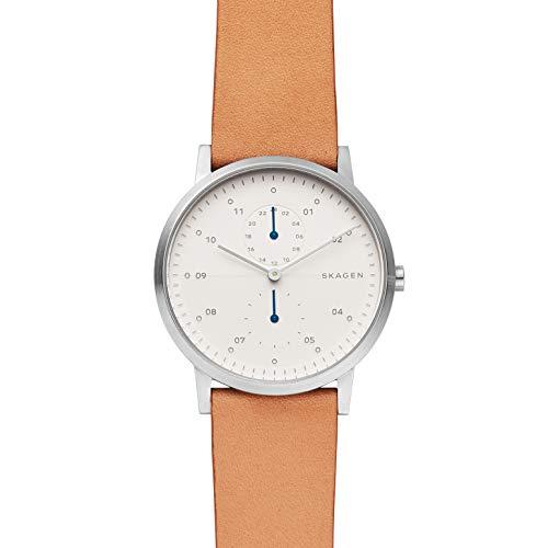 スカーゲン 腕時計 メンズ 【送料無料】Skagen Men's Kristoffer Multifunction Quartz Stainless Steel and Leather Casual Watch Color: Stainless, Tan (Model: SKW6498)スカーゲン 腕時計 メンズ