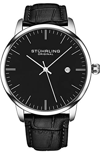 腕時計 ストゥーリングオリジナル メンズ 【送料無料】Stuhrling Original Mens Watch Calfskin Leather Strap - Dress + Casual Design - Minimalist Analog Watch Dial with Date, 3997Z Watches for Men Collection (B腕時計 ストゥーリングオリジナル メンズ