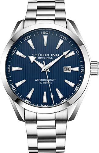 ストゥーリングオリジナル 腕時計 メンズ 【送料無料】Stuhrling Original Blue Watch for Men Analog Watch Dial with Date - Stainless Steel Silver Bracelet, 3953 Mens Watch Collectionストゥーリングオリジナル 腕時計 メンズ