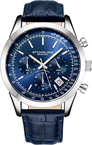 腕時計 ストゥーリングオリジナル メンズ 【送料無料】Stuhrling Original Mens Watches Chronograph Analog Blue Watch Dial with Date - Tachymeter 24-Hour Subdial Mens Blue Leather Strap - Watches for Men Rialto腕時計 ストゥーリングオリジナル メンズ
