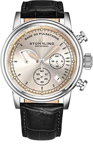 ストゥーリングオリジナル 腕時計 メンズ 【送料無料】Stuhrling Original Mens Leather Watch Chronograph Pulsometer - Stainless Steel Case - Analog Dial with Date ChronoPulse Watches for Men Collection (Black)ストゥーリングオリジナル 腕時計 メンズ