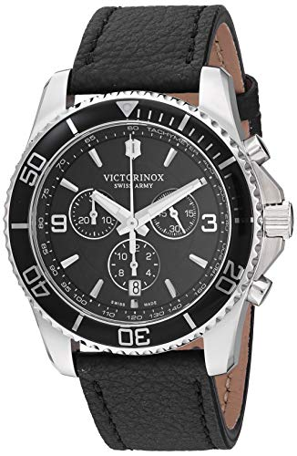 ビクトリノックス スイス 腕時計 メンズ 【送料無料】Victorinox Stainless Steel Swiss Quartz Sport Watch with Leather Strap, Black, 21.6 (Model: 241864)ビクトリノックス スイス 腕時計 メンズ