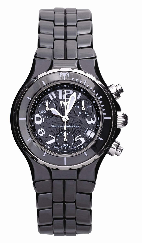 テクノマリーン 腕時計 レディース 【送料無料】TechnoMarine Women's TCB02C MoonSun Ceramic Silver-Plated Black Watchテクノマリーン 腕時計 レディース
