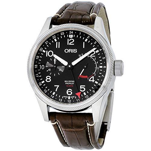 オリス 腕時計 メンズ 【送料無料】Oris Big Crown ProPilot Black Dial Leather Strap Men's Watch 11477464164LSBRNオリス 腕時計 メンズ