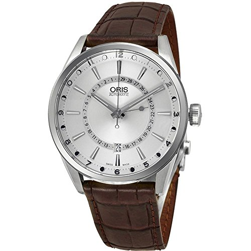 オリス 腕時計 メンズ 【送料無料】Oris Artix Pointer Moon Date Automatic Stainless Steel Mens Strap Watch Silver Dial 761-7691-4051-LSオリス 腕時計 メンズ