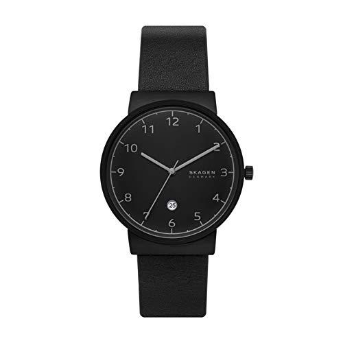 スカーゲン 腕時計 メンズ 【送料無料】Skagen Men's Ancher Three-Hand Date Leather Watch, Color: Black, 20 (Model: SKW6567)スカーゲン 腕時計 メンズ