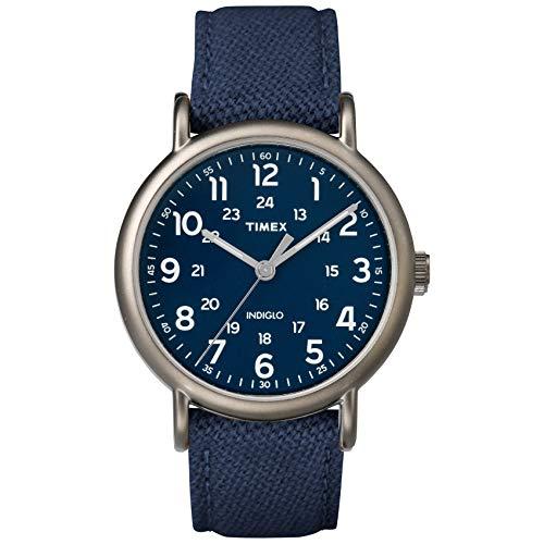 腕時計 タイメックス メンズ 【送料無料】Timex Men's TWF3C8450 Weekender 40 Blue/Titanium Two-Piece Leather/Fabric Strap Watch腕時計 タイメックス メンズ