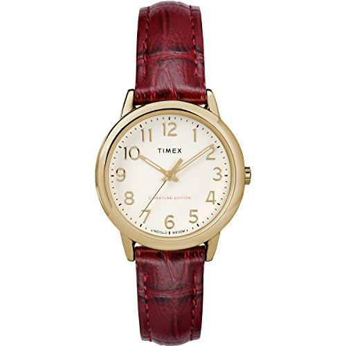 腕時計 タイメックス レディース 【送料無料】Timex Women's TW2R65400 Easy Reader Signature 30mm Burgundy/Cream Leather Strap Watch腕時計 タイメックス レディース