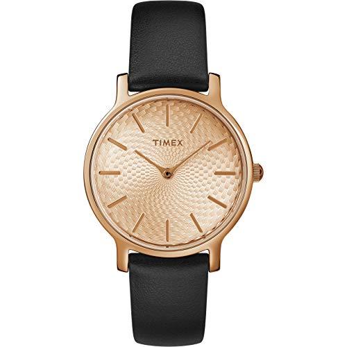 タイメックス 腕時計 レディース 【送料無料】Timex Women's TW2R91700 Metropolitan 34mm Black/Rose Gold-Tone Leather Strap Watchタイメックス 腕時計 レディース