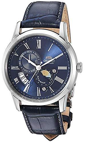 オリエント 腕時計 メンズ 【送料無料】Orient Men's Sun and Moon Version 3 Stainless Steel Japanese-Automatic Watch with Leather Calfskin Strap, Blue, 20 (Model: FAK00005D0)オリエント 腕時計 メンズ