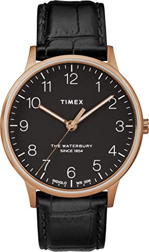 腕時計 タイメックス メンズ 【送料無料】Timex Men's Waterbury Classic 40mm   Black Leather Strap   Watch TW2R96000腕時計 タイメックス メンズ
