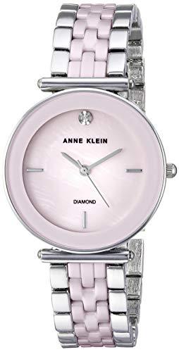 アンクライン 腕時計 レディース 【送料無料】Anne Klein Women's AK/3159LPSV Diamond-Accented Silver-Tone and Light Pink Ceramic Bracelet Watchアンクライン 腕時計 レディース