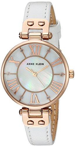 アンクライン 腕時計 レディース 【送料無料】Anne Klein Women's Quartz Metal and Leather Dress Watch, Color:Whiteアンクライン 腕時計 レディース