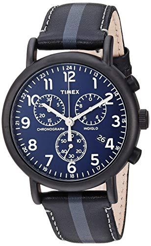 タイメックス 腕時計 メンズ 【送料無料】Timex Men's TWF3C8400 Weekender Chrono Black/Gray Stripe/Blue Two-Piece Leather Strap Watchタイメックス 腕時計 メンズ