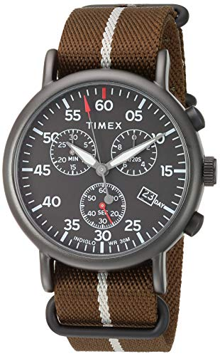 腕時計 タイメックス メンズ 【送料無料】Timex Men's TW2T73600 Weekender Chrono Dark Green/Black Double-Layered Nylon Fabric Slip-Thru Strap Watch腕時計 タイメックス メンズ