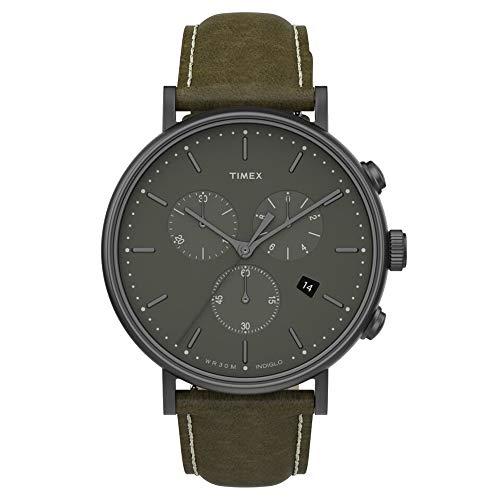 タイメックス 腕時計 メンズ Timex Men's Fairfield Chronograph 41mm Leather Strap Watch, Gunmetal/Olive/Olive (TW2T67600), One Sizeタイメックス 腕時計 メンズ