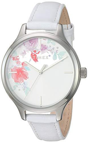 タイメックス 腕時計 レディース 【送料無料】Timex Women's TW2R66800 Crystal Bloom White/Silver Floral Accent Leather Strap Watchタイメックス 腕時計 レディース