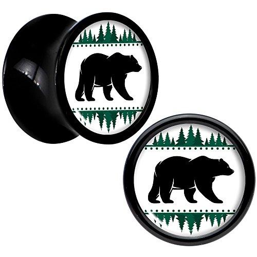 ボディキャンディー ボディピアス アメリカ 日本未発売 ウォレット Body Candy Black Acrylic Winter Polar Bear in Woods Saddle Ear Gauge Plug Set of 2 0 Gaugeボディキャンディー ボディピアス アメリカ 日本未発売 ウォレット