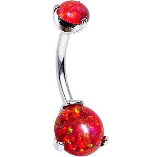 ボディキャンディー ボディピアス アメリカ 日本未発売 ウォレット 【送料無料】Body Candy Stainless Steel Red Synthetic Opal Internally Threaded Belly Ring 3/8