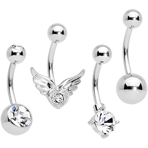 Body Candy 14G 316L Stainless Steel Navel Ring Piercing Valentines Owl Belly Button Ring 11mm