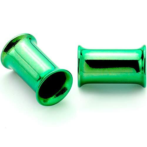 ボディキャンディー ボディピアス アメリカ 日本未発売 ウォレット 【送料無料】Body Candy 2Pc Green Anodized Steel 5mm Double Flare Tunnel Ear Gauge Plugs Set of 2 4 Gaugeボディキャンディー ボディピアス アメリカ 日本未発売 ウォレット