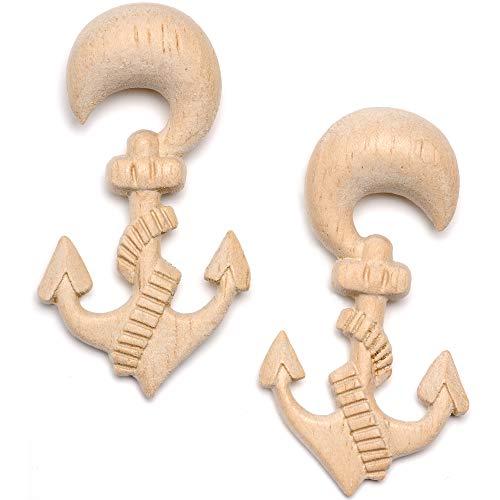 ボディキャンディー ボディピアス アメリカ 日本未発売 ウォレット 【送料無料】Body Candy Womens Ear Plug Gauges Organic Hand Carved Wood Nautical Anchor Hanger Plugs Stretched Ears 00Gボディキャンディー ボディピアス アメリカ 日本未発売 ウォレット