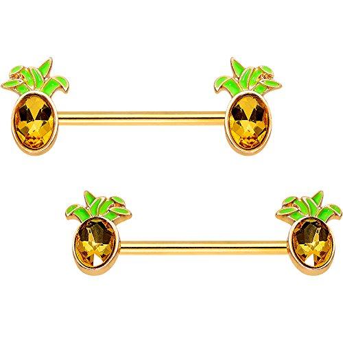 ボディキャンディー ボディピアス アメリカ 日本未発売 ウォレット Body Candy PVD Steel Orange Accent Juicy Pineapple Barbell Nipple Ring Set of 2 14 Gauge 9/16
